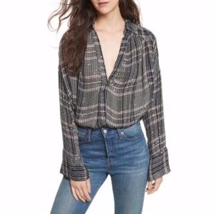 Free People Fearless Love Plaid Sparkle Tunic